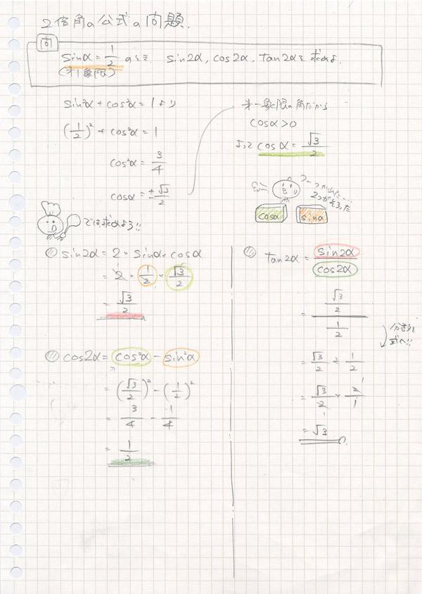 二倍角の公式の問題のノート