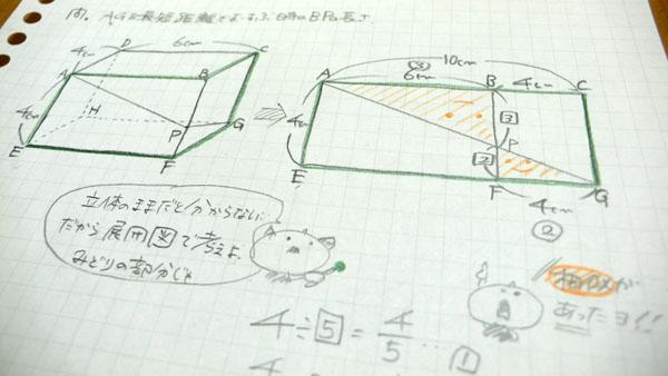 展開図で相似の問題のノート
