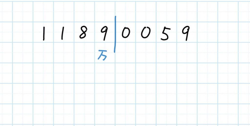 大きな桁の数字から漢数字へ_手順2