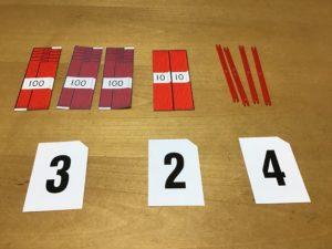 3桁の数を教具で表す